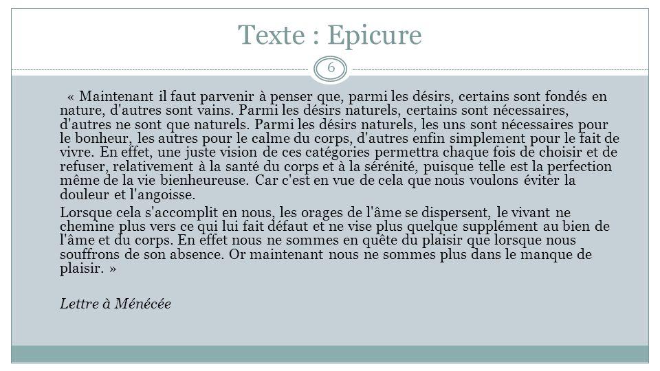 Texte : Epicure