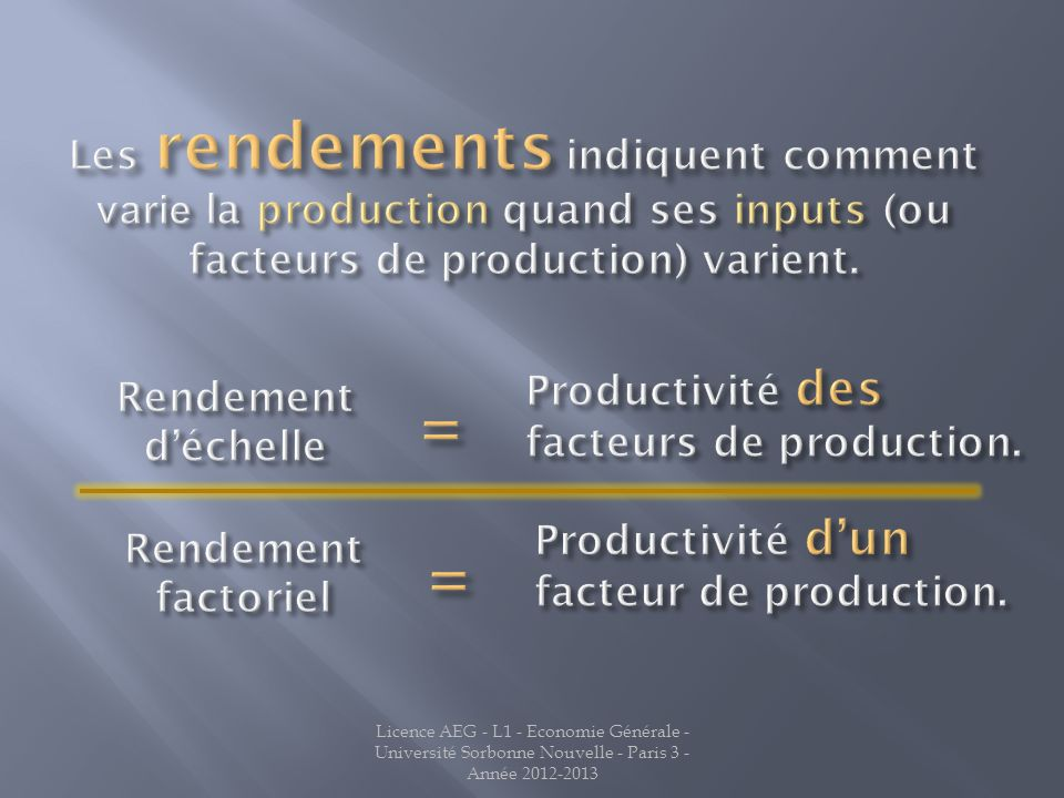 Jean LATREILLE Les rendements indiquent comment varie la production quand ses inputs (ou facteurs de production) varient.