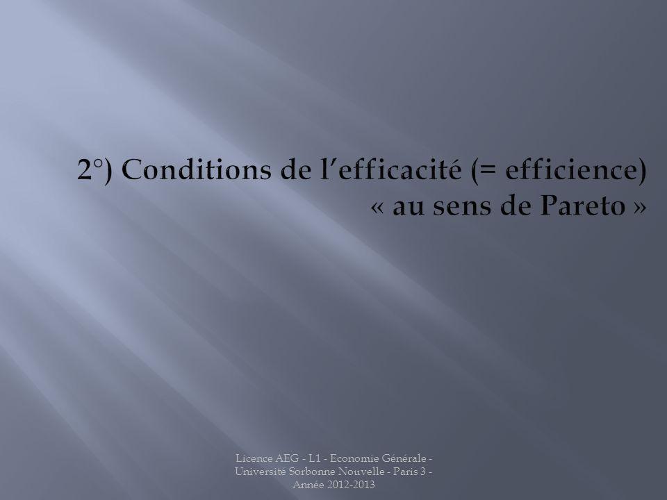 2°) Conditions de l'efficacité (= efficience) « au sens de Pareto »