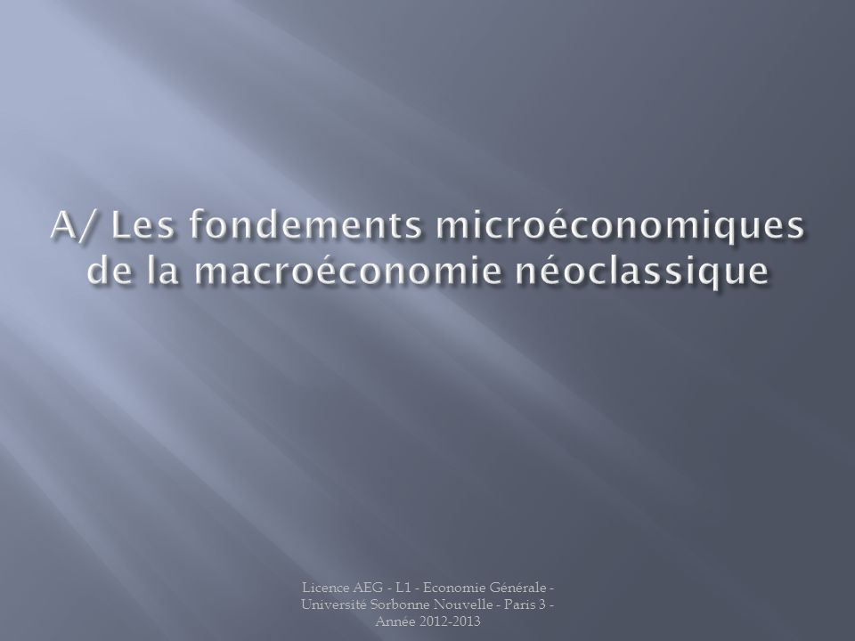 A/ Les fondements microéconomiques de la macroéconomie néoclassique