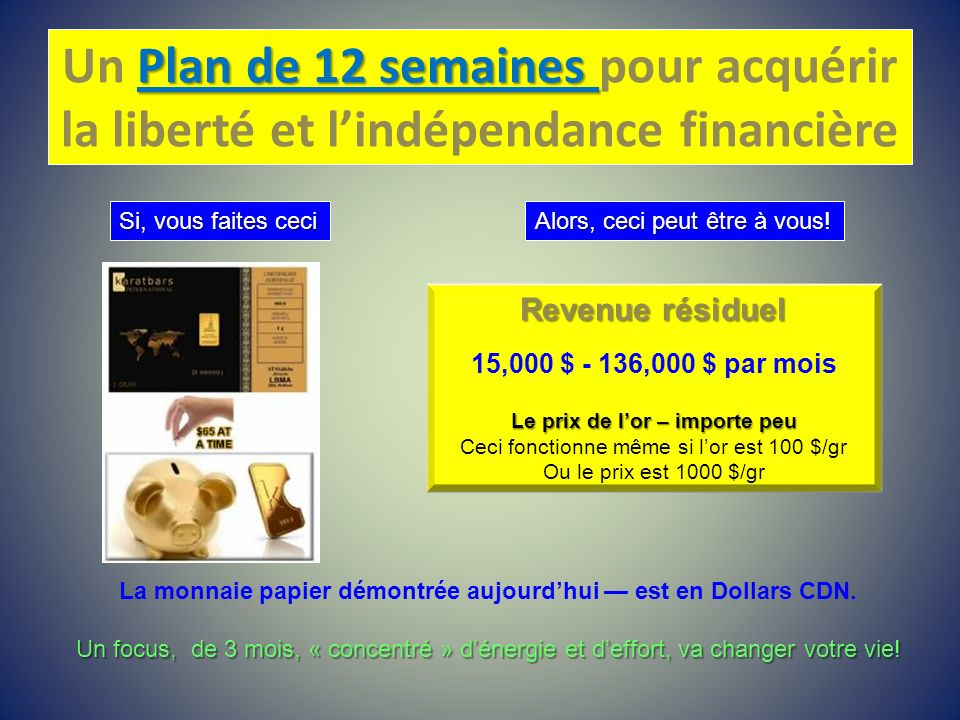 Un Plan de 12 semaines pour acquérir la liberté et l'indépendance financière