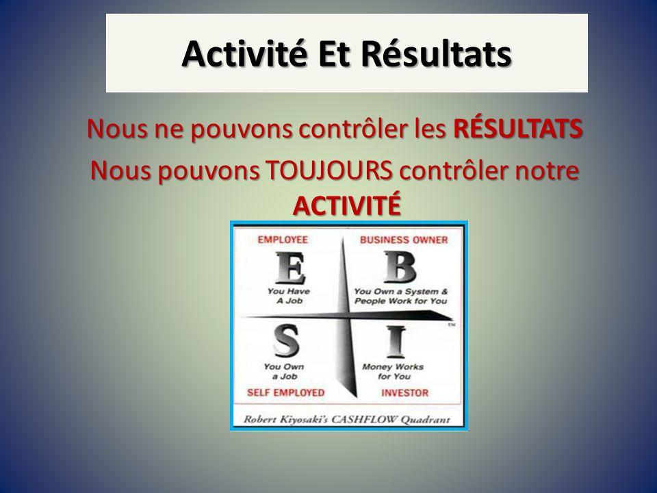 Activité Et RésultatsNous ne pouvons contrôler les RÉSULTATS Nous pouvons TOUJOURS contrôler notre ACTIVITÉ