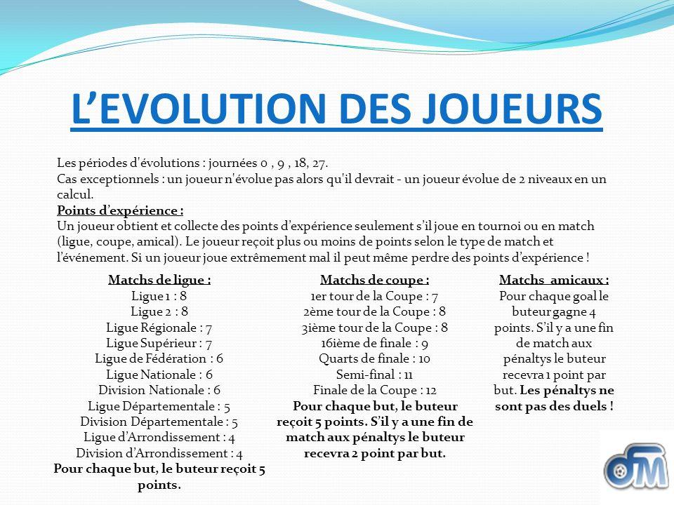 L'EVOLUTION DES JOUEURS