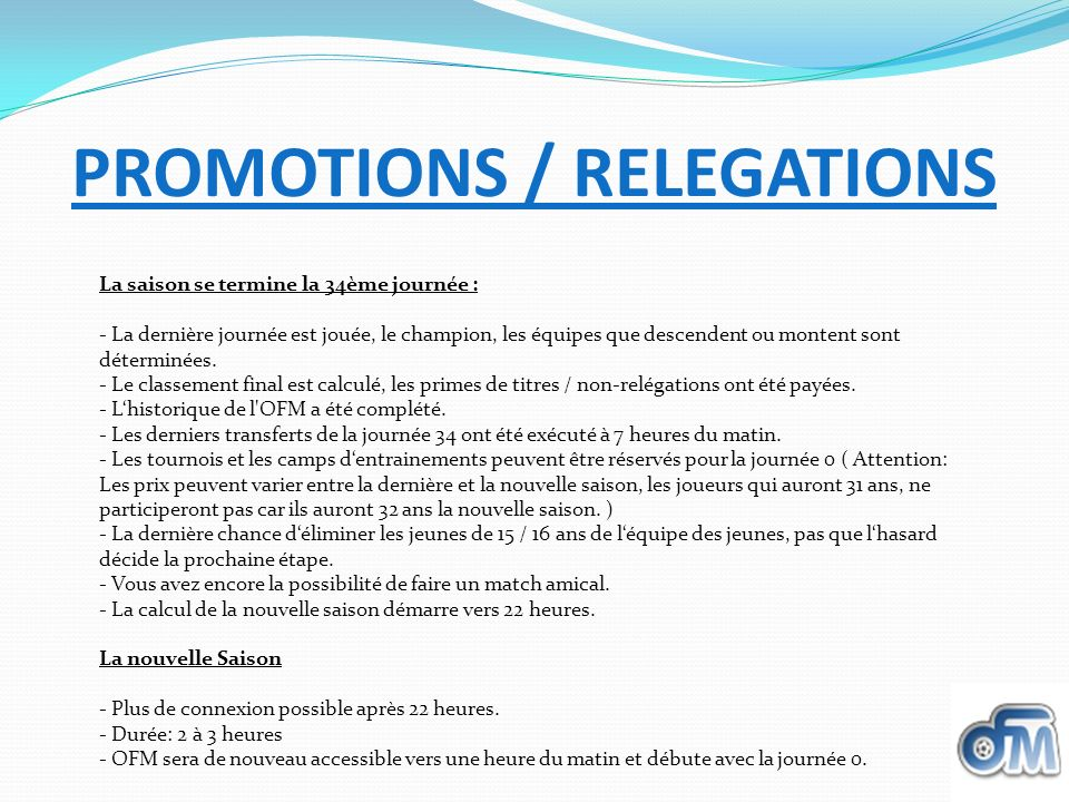 PROMOTIONS / RELEGATIONS