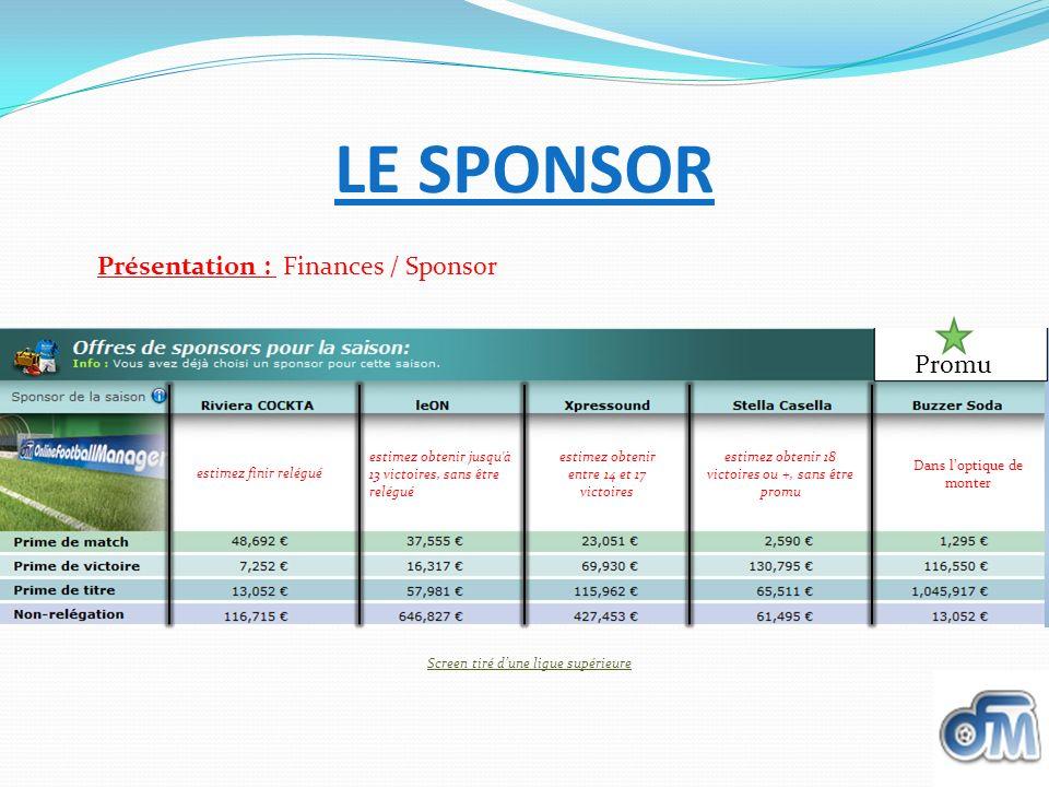 LE SPONSOR Présentation : Finances / Sponsor Promu