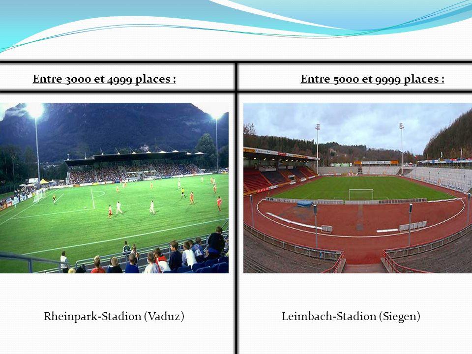 Entre 3000 et 4999 places : Entre 5000 et 9999 places : Rheinpark-Stadion (Vaduz) Leimbach-Stadion (Siegen)