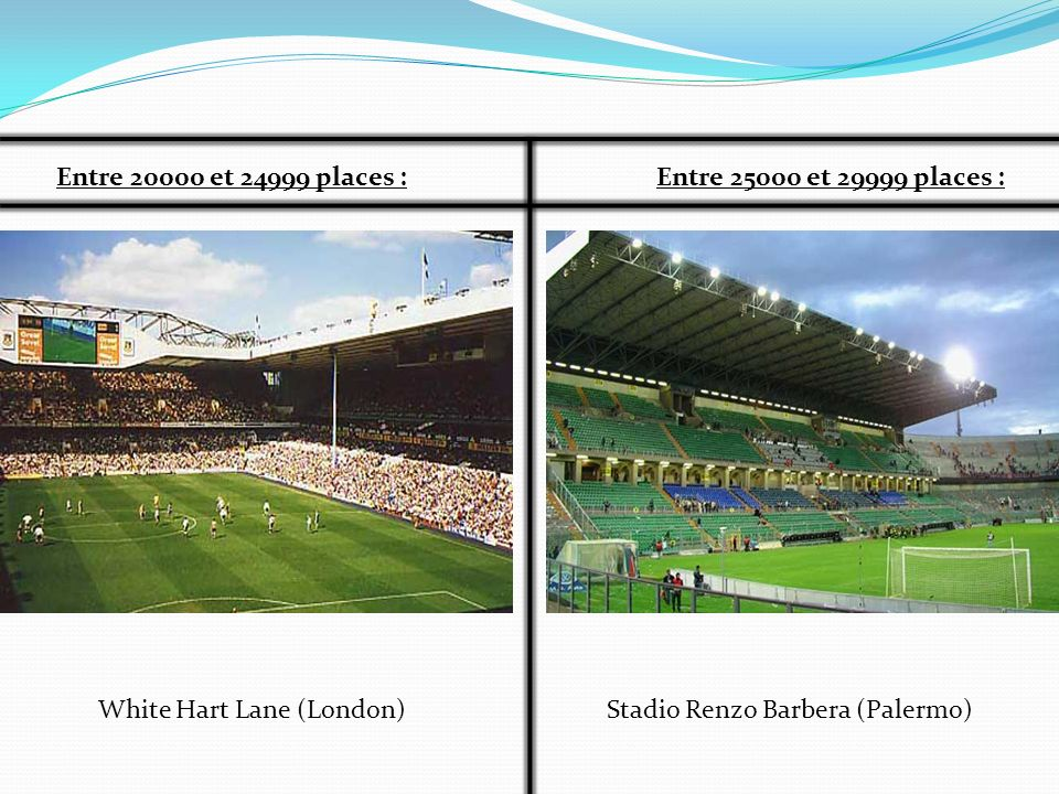Entre 20000 et 24999 places : Entre 25000 et 29999 places : White Hart Lane (London) Stadio Renzo Barbera (Palermo)