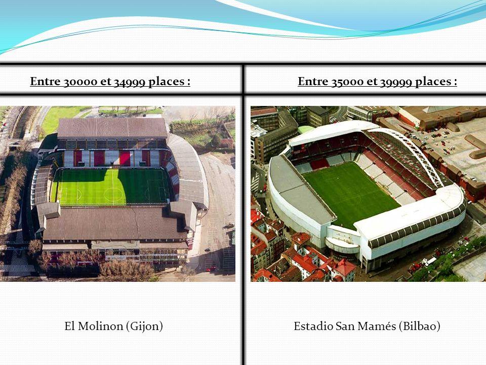 Entre 30000 et 34999 places : Entre 35000 et 39999 places : El Molinon (Gijon) Estadio San Mamés (Bilbao)