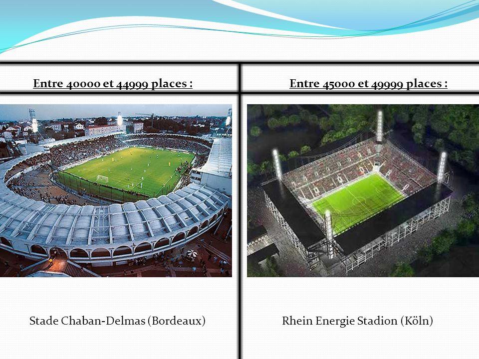 Entre 40000 et 44999 places : Entre 45000 et 49999 places : Stade Chaban-Delmas (Bordeaux) Rhein Energie Stadion (Köln)