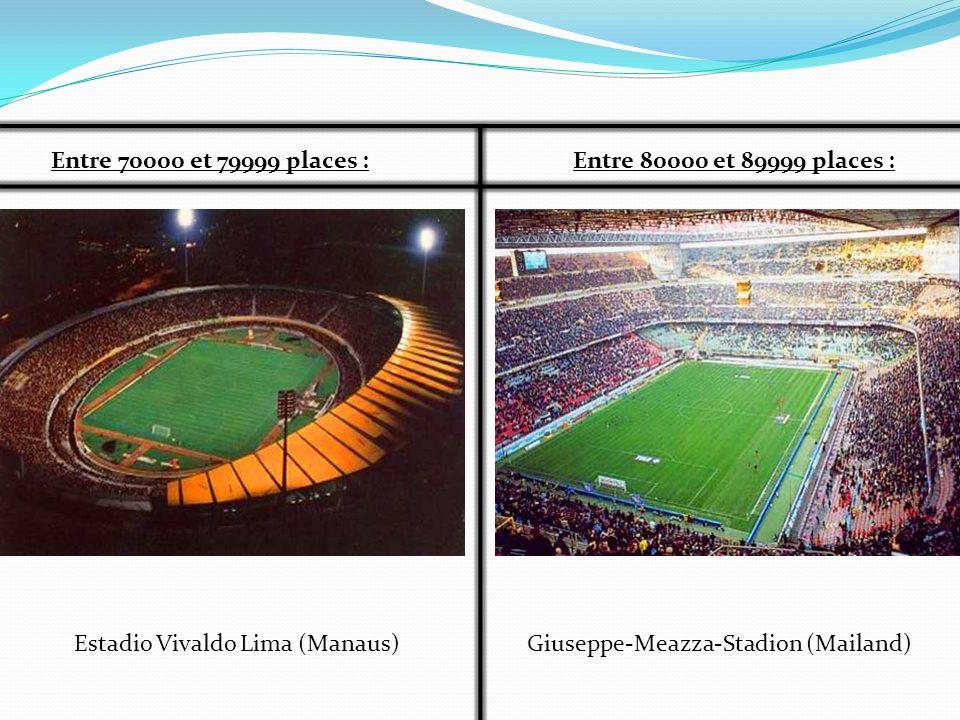 Entre 70000 et 79999 places : Entre 80000 et 89999 places : Estadio Vivaldo Lima (Manaus) Giuseppe-Meazza-Stadion (Mailand)