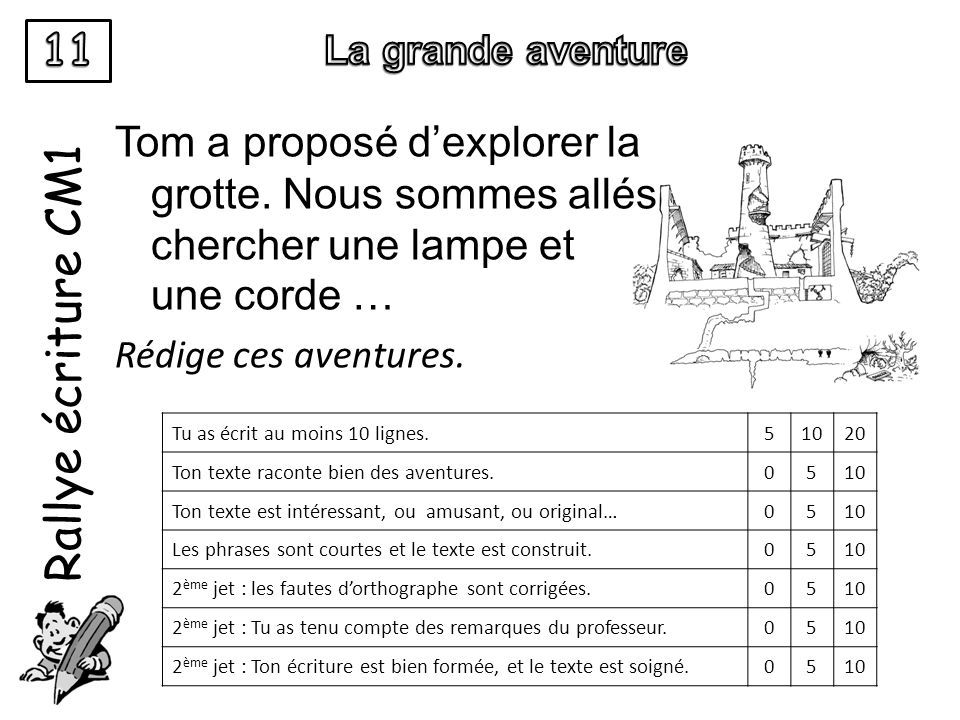 11 La grande aventure. Rallye écriture CM1.