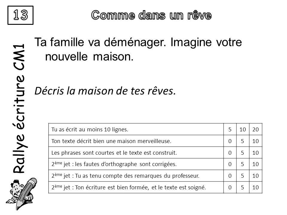 Rallye écriture CM1 13 Comme dans un rêve