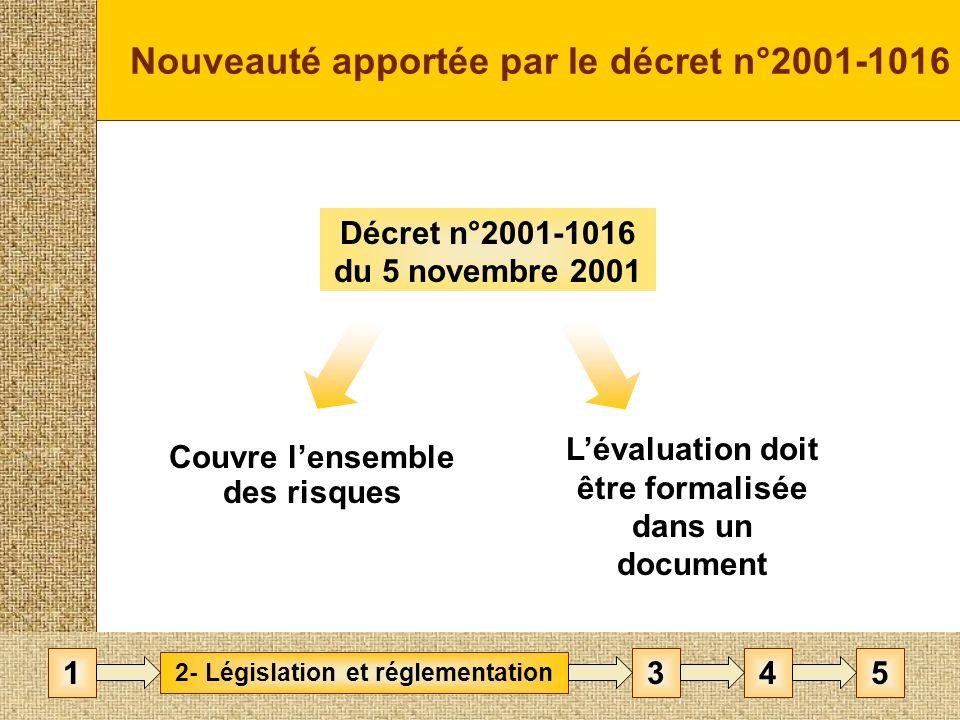 Nouveauté apportée par le décret n°2001-1016