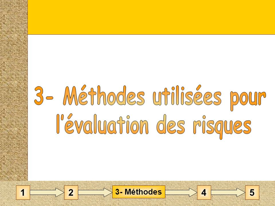 3- Méthodes utilisées pour l'évaluation des risques