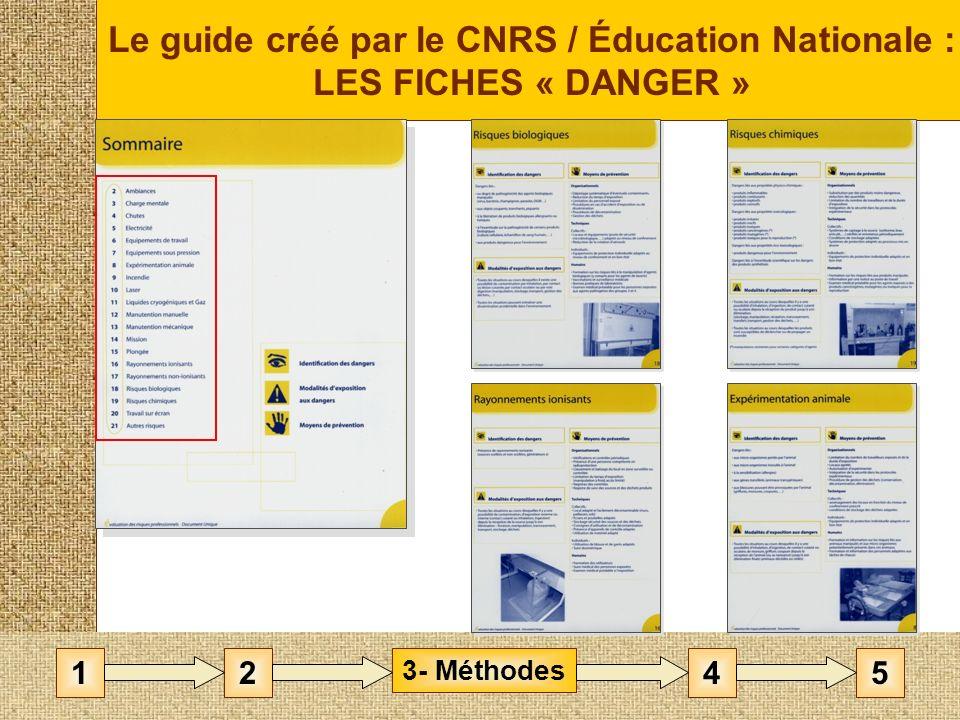 Le guide créé par le CNRS / Éducation Nationale : LES FICHES « DANGER »