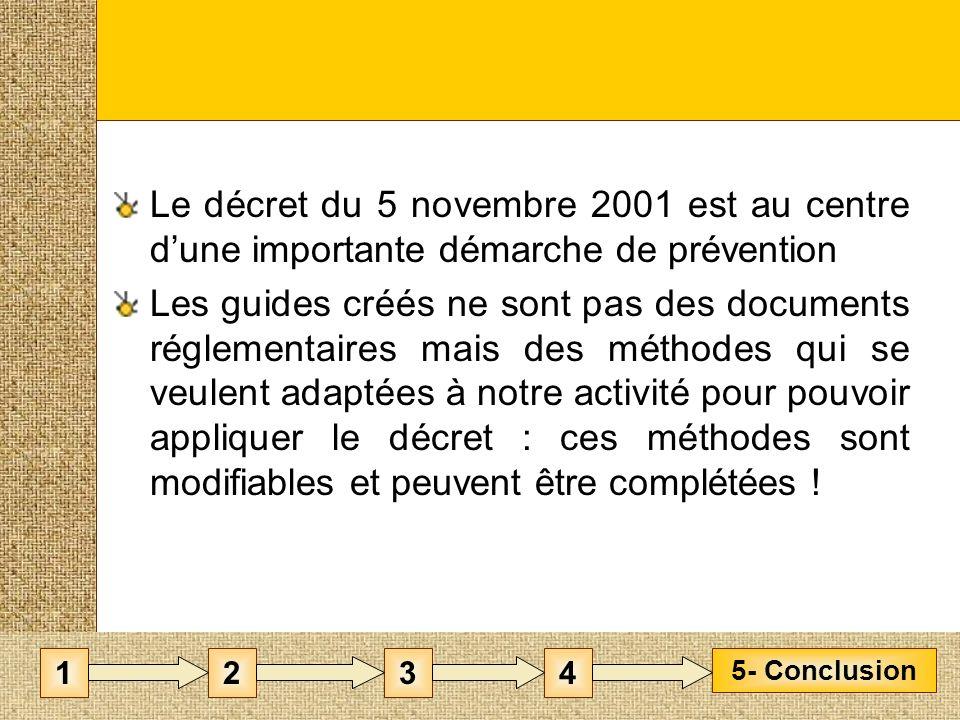 Le décret du 5 novembre 2001 est au centre d'une importante démarche de prévention