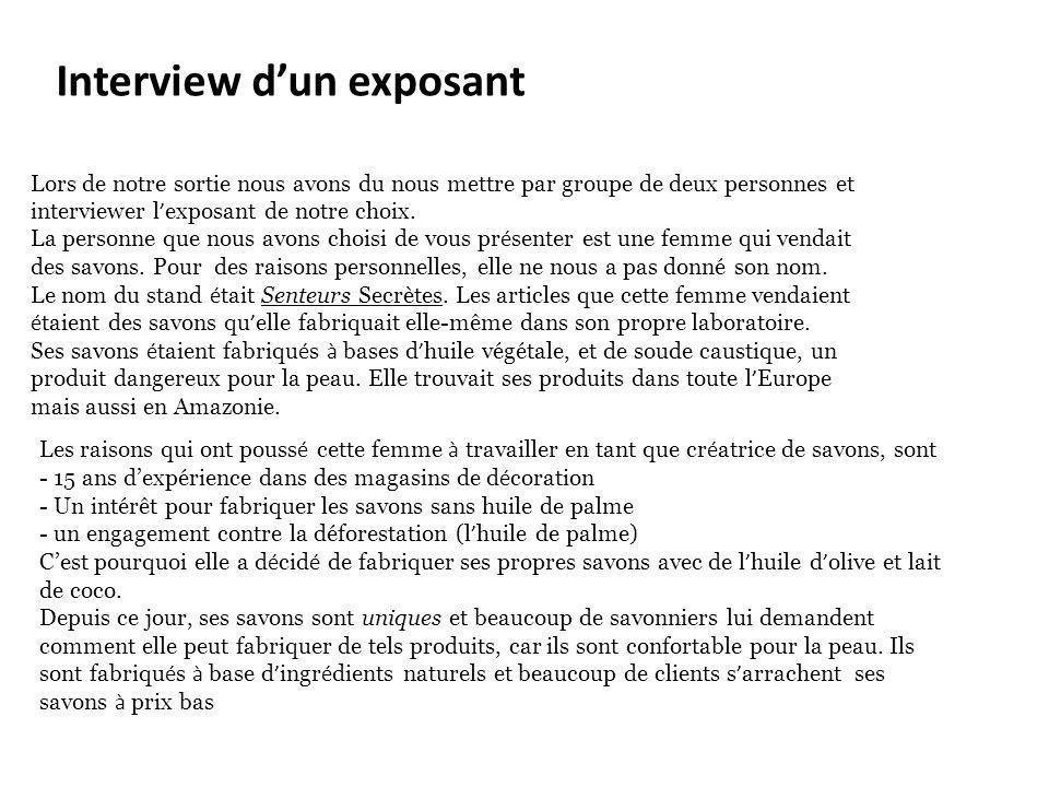 Interview d'un exposant