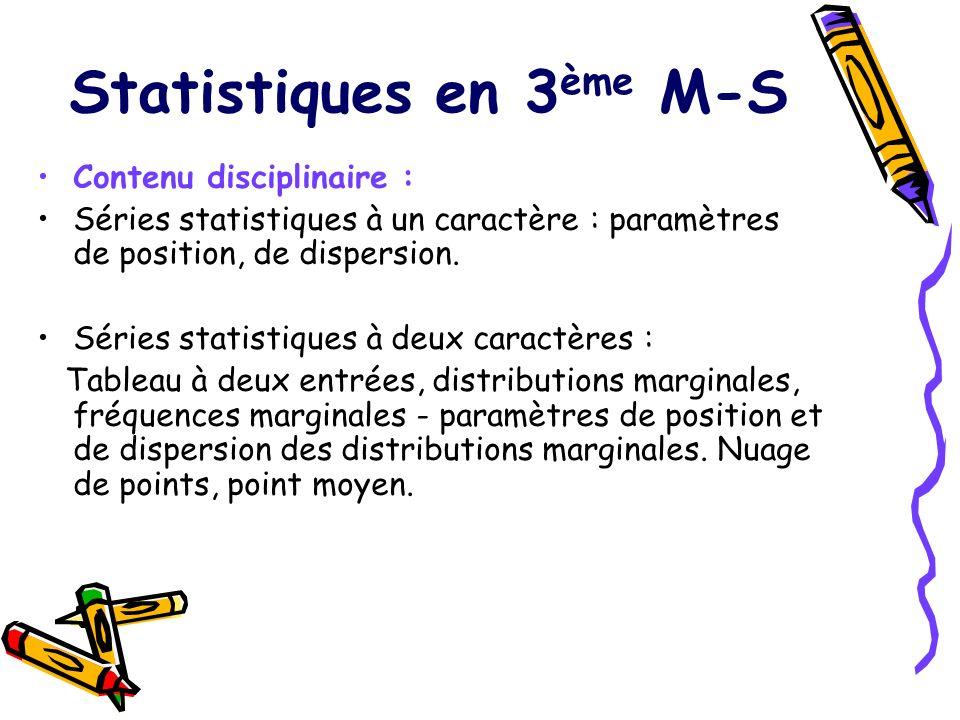 Statistiques en 3ème M-S