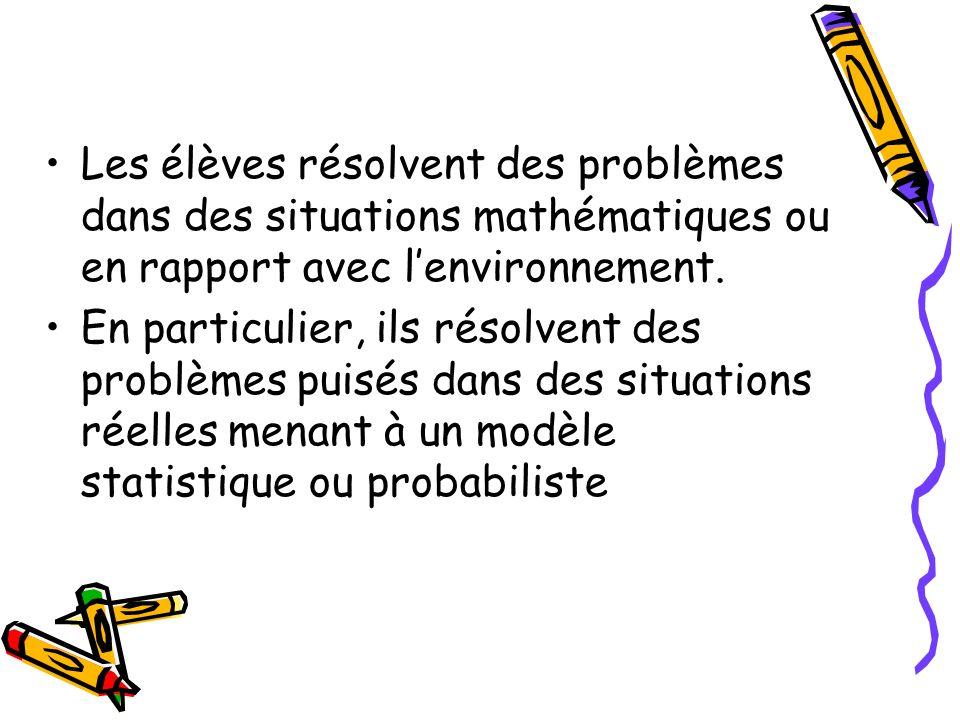 Les élèves résolvent des problèmes dans des situations mathématiques ou en rapport avec l'environnement.