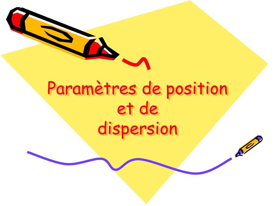 Paramètres de position et de dispersion