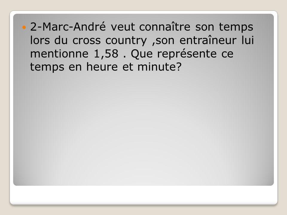 2-Marc-André veut connaître son temps lors du cross country ,son entraîneur lui mentionne 1,58 .