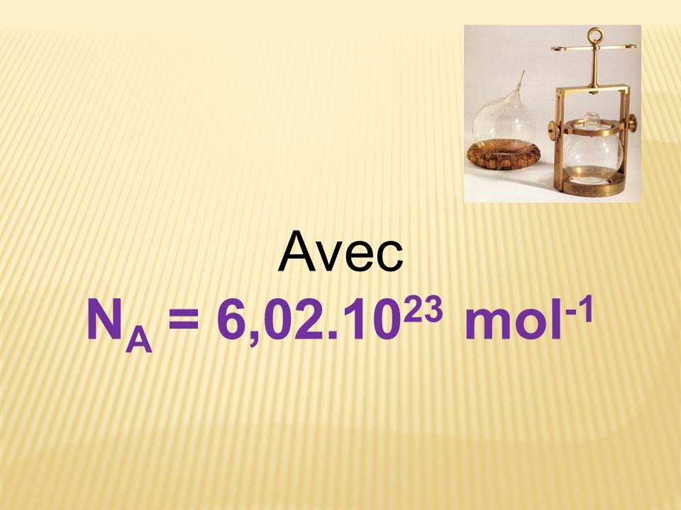 Avec NA = 6,02.1023 mol-1