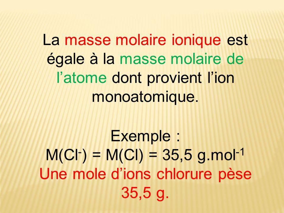 Une mole d'ions chlorure pèse 35,5 g.