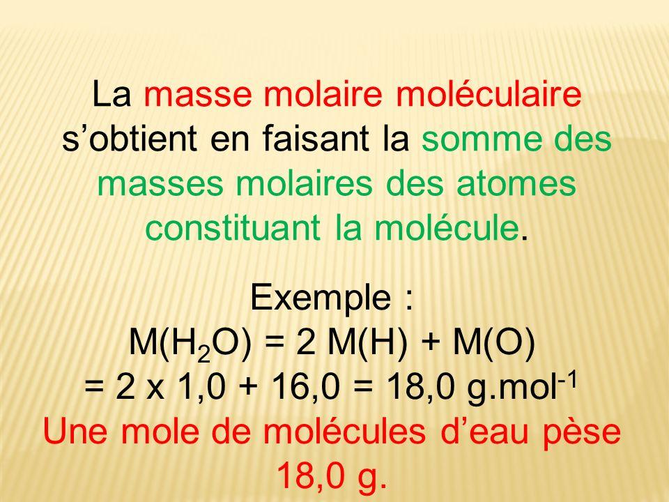 Une mole de molécules d'eau pèse 18,0 g.