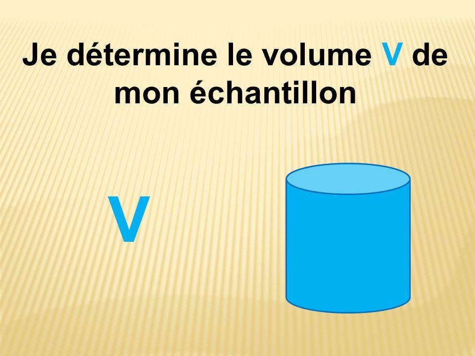 Je détermine le volume V de mon échantillon