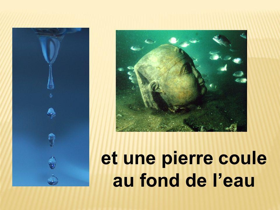 et une pierre coule au fond de l'eau