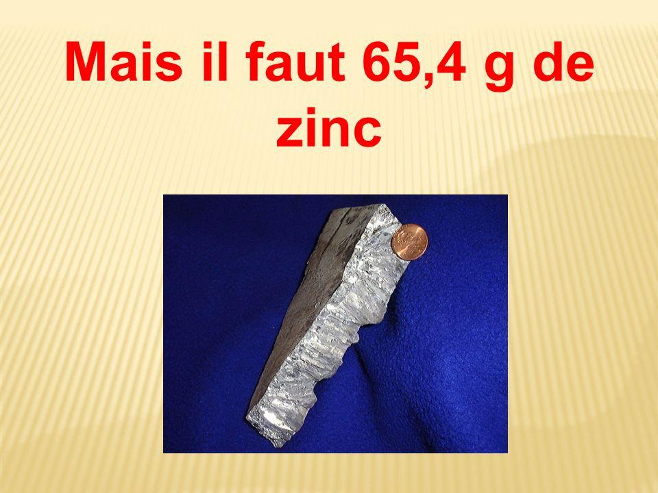 Mais il faut 65,4 g de zinc