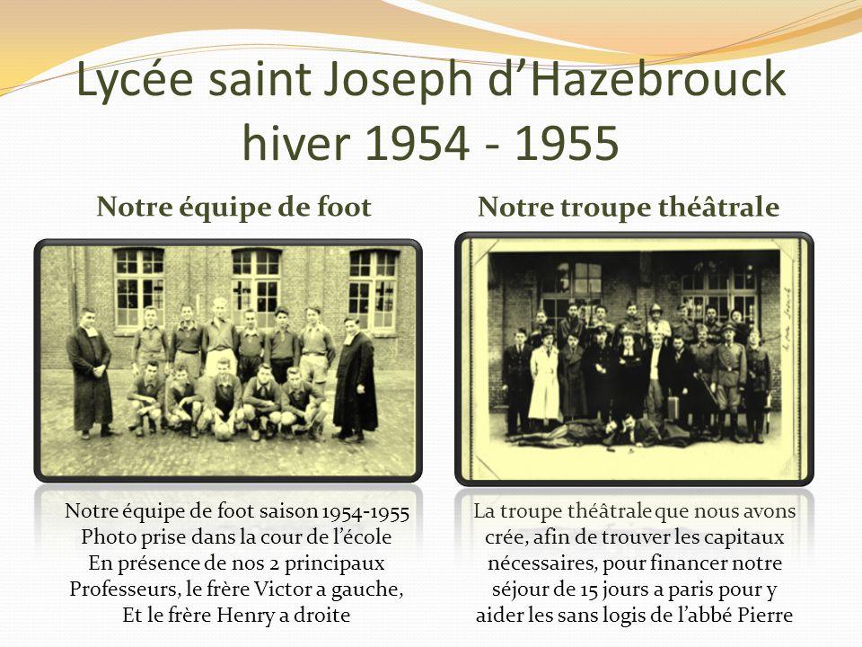 Lycée saint Joseph d'Hazebrouck hiver 1954 - 1955