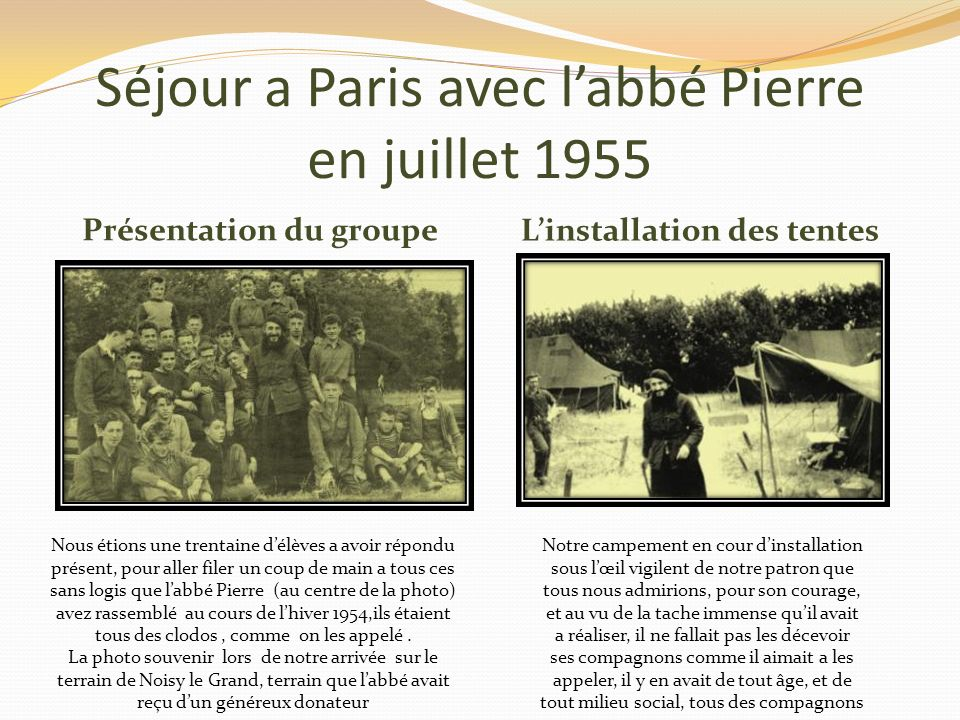 Séjour a Paris avec l'abbé Pierre en juillet 1955