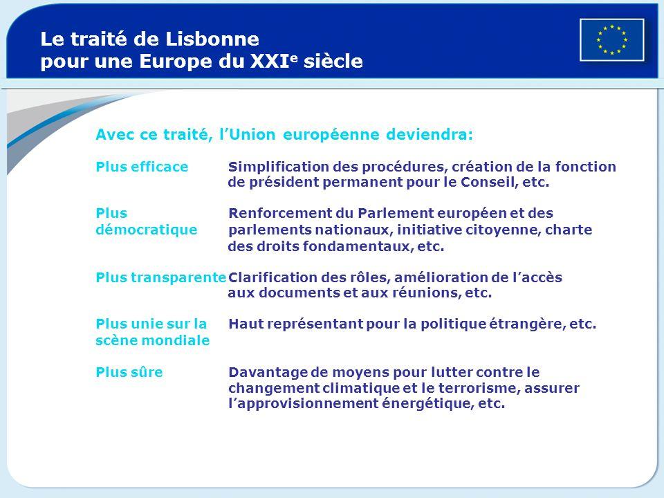 Le traité de Lisbonne pour une Europe du XXIe siècle