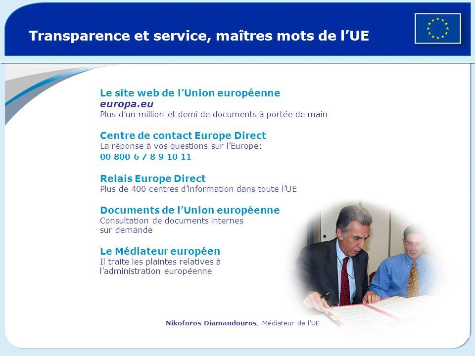 Transparence et service, maîtres mots de l'UE