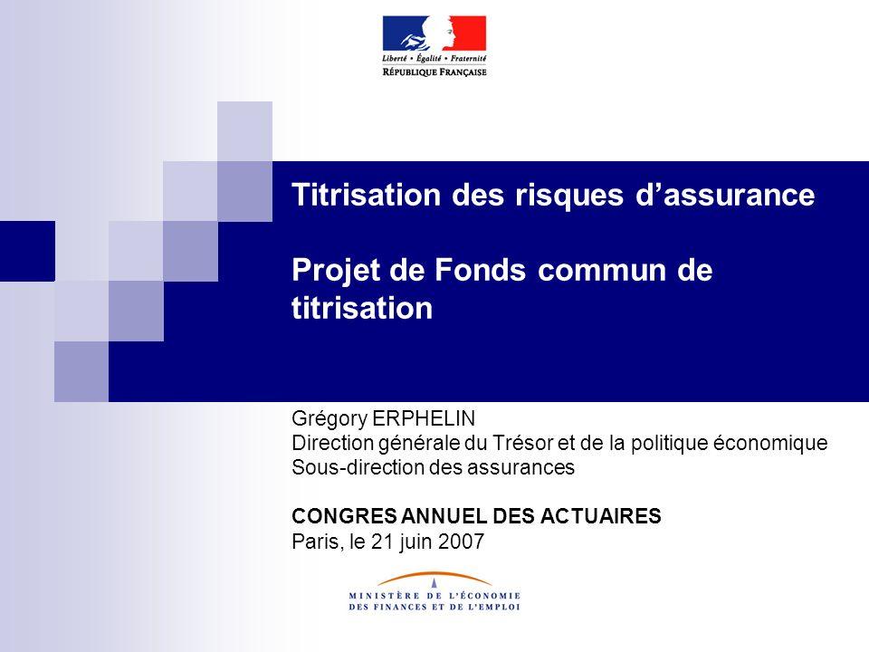 Titrisation des risques d'assurance Projet de Fonds commun de titrisation
