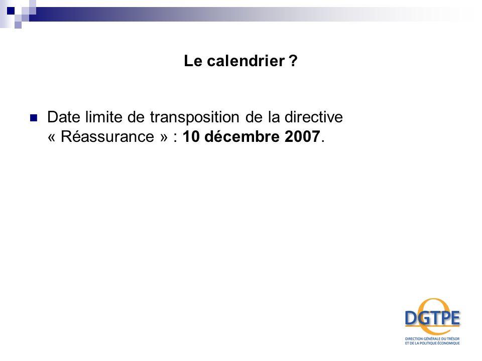 Le calendrier Date limite de transposition de la directive « Réassurance » : 10 décembre 2007.