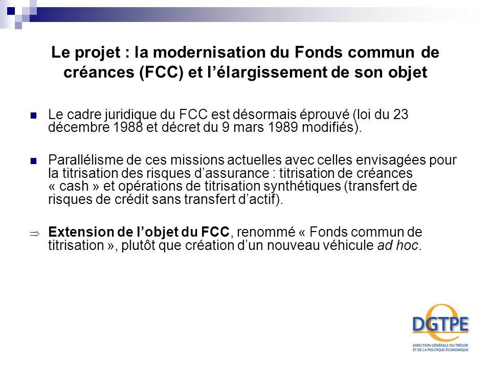 Le projet : la modernisation du Fonds commun de créances (FCC) et l'élargissement de son objet