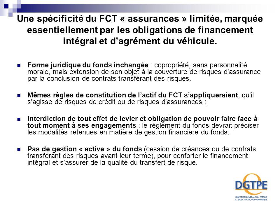 Une spécificité du FCT « assurances » limitée, marquée essentiellement par les obligations de financement intégral et d'agrément du véhicule.
