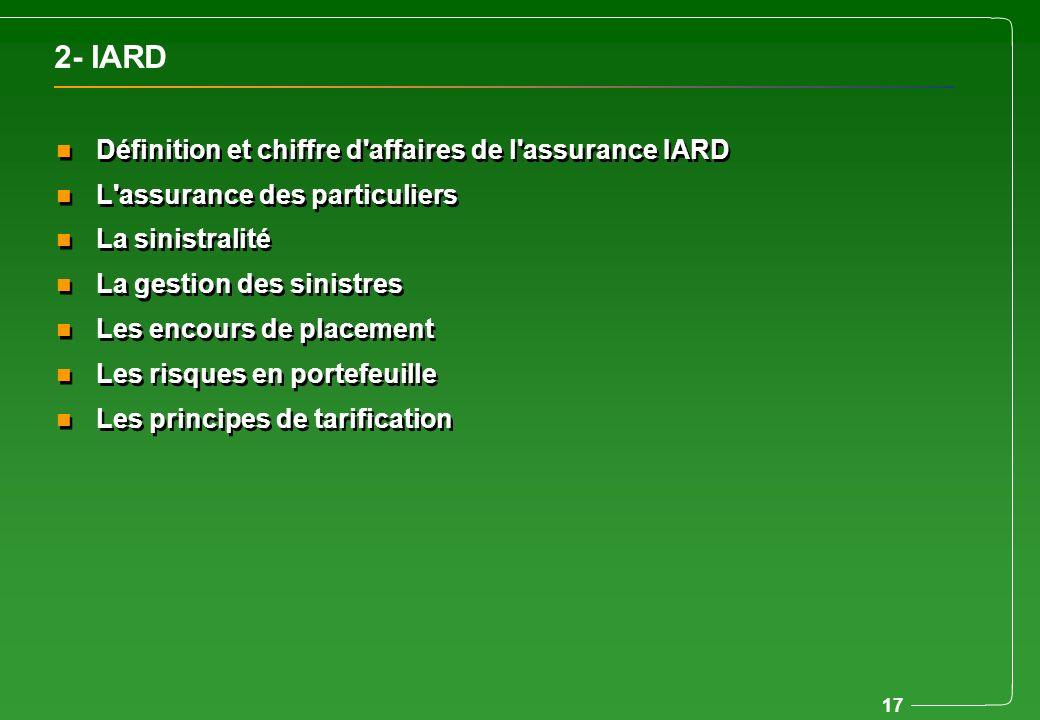 2- IARD Définition et chiffre d affaires de l assurance IARD