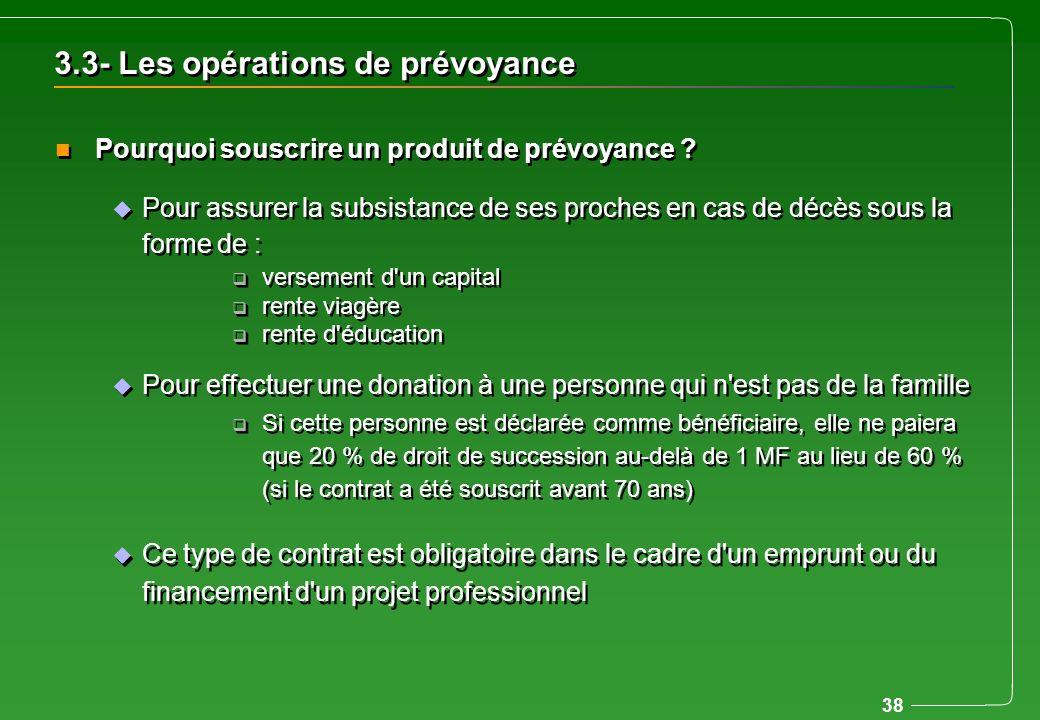 3.3- Les opérations de prévoyance