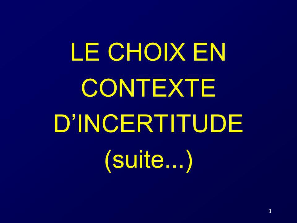 LE CHOIX EN CONTEXTE D'INCERTITUDE (suite...)