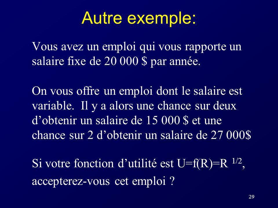 Autre exemple: Vous avez un emploi qui vous rapporte un salaire fixe de 20 000 $ par année.