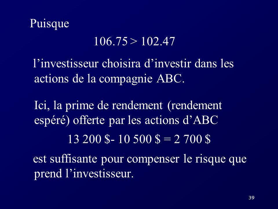 Puisque 106.75 > 102.47. l'investisseur choisira d'investir dans les actions de la compagnie ABC.