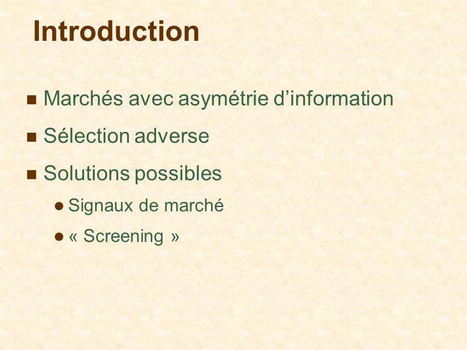 Introduction Marchés avec asymétrie d'information Sélection adverse