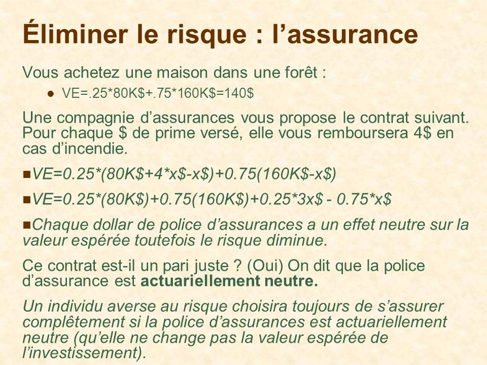 Éliminer le risque : l'assurance