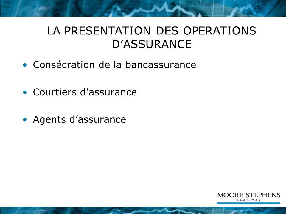 LA PRESENTATION DES OPERATIONS D'ASSURANCE