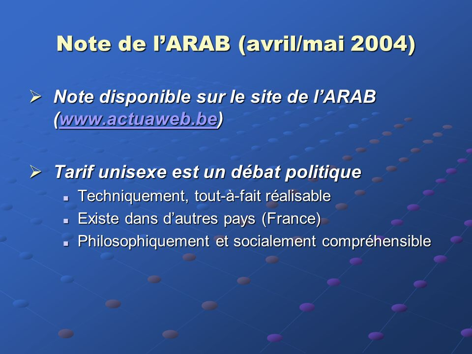 Note de l'ARAB (avril/mai 2004)
