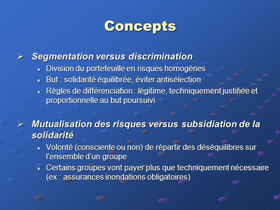 Concepts Segmentation versus discrimination