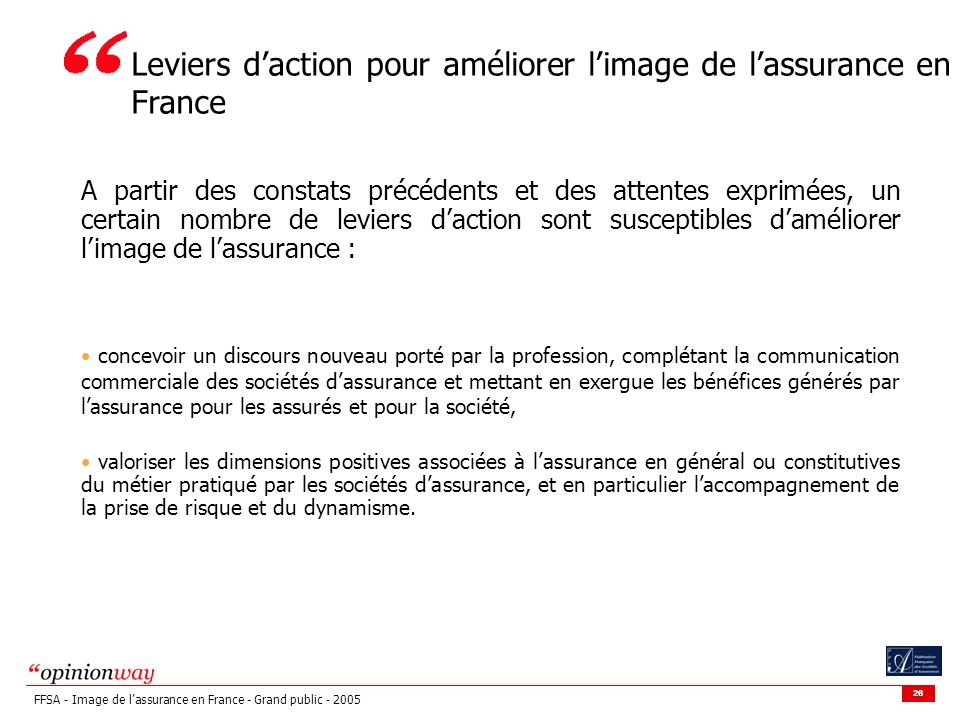 Leviers d'action pour améliorer l'image de l'assurance en France